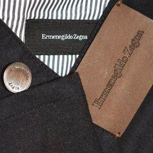Ermenegildo Zegna CURRENT Charcoa Gray Wool Pants